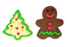 Человек Gingerbread и печенье рождественской елки Стоковое Изображение