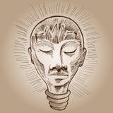 человек lightbulb чертежа Стоковые Фото