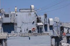 Человек na górze турецкого старого военного корабля Стоковая Фотография