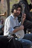 человек New York банджо Стоковая Фотография
