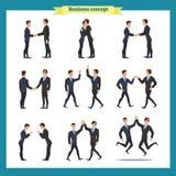 человек s рукопожатия Бизнесмены сыгранности, комплекта бизнесменов в различных представлениях, положения, оружий пересекли, hand иллюстрация вектора