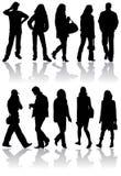 человек silhouettes женщины вектора Стоковое Изображение RF