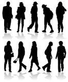человек silhouettes wom вектора иллюстрация вектора