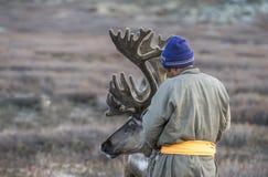 Человек Tsaatan, одетый в традиционном deel, с его северными оленями стоковое изображение