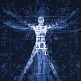 Человек Vitruvian цифрового века Стоковая Фотография