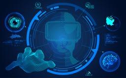 Человек VR достигая руку Стоковые Фото