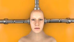 Человеческая голова и соединенные трубки Стоковое Фото