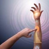 Человеческая робототехническая рука в футуристической концепции Стоковые Фото