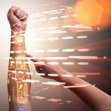 Человеческая робототехническая рука в футуристической концепции Стоковая Фотография RF