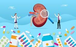 Человеческие открытые таблетки здоровья медицины почки дают наркотики обработке капсулы с анализом доктора - иллюстрация вектора