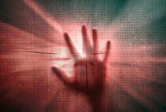 Человеческие рука и предпосылка двоичных чисел Стоковое Фото