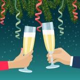 Человеческие руки с стеклами с шампанским Ветвь рождественской елки иллюстрация штока