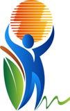 Человеческий держа логотип глобуса Стоковое Изображение