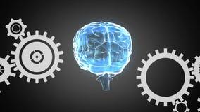 Человеческий мозг и шестерни иллюстрация вектора