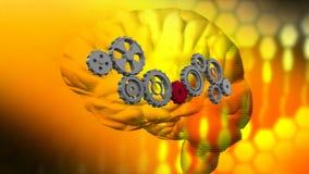 Человеческий мозг и шестерни иллюстрация штока