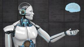 Человеческий мозг робота гуманоида иллюстрация вектора