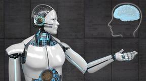 Человеческий мозг робота гуманоида иллюстрация штока