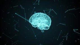 Человеческий мозг с нервными клетками сформировал частицами внутри цифрового виртуального пространства иллюстрация штока