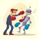 Человеческий мужской выигрыш характера человека улучшает робот Иллюстрация шаржа вектора плоская иллюстрация штока