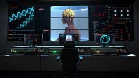 Человеческий центр медицинского обслуживания, комната основного управляющего воздействия, просматривая мозг в женском теле взгляд иллюстрация штока