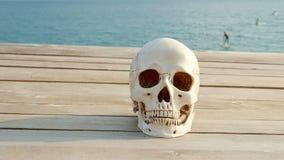 Человеческий череп на деревянной террасе с взглядом моря и неба r видеоматериал