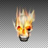 Человеческий череп на огне иллюстрация штока