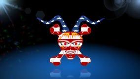 Человеческий череп, 3D иллюстрация, американский флаг, анимация видеоматериал