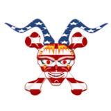 Человеческий череп, 3D иллюстрация, американский флаг Стоковое Изображение RF