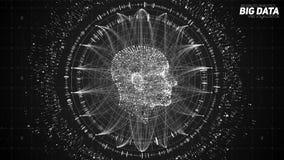 Человеческое большое визуализирование данных Футуристическая концепция искусственного интеллекта Дизайн разума кибер астетический Стоковое фото RF
