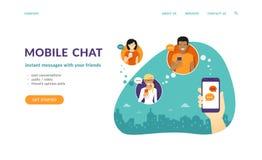 Человеческое владение руки smartphone и сообщения посылки к друзьям через передвижной посыльный app бесплатная иллюстрация