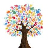 Человеческое дерево руки для концепции разнообразия культуры иллюстрация штока