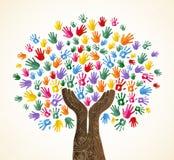 Человеческое дерево руки для концепции разнообразия культуры бесплатная иллюстрация