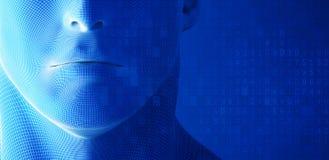 Человеческое лицо, рот с кодом данных на голубой предпосылке в концепции технологии, искусственном интеллекте иллюстрация 3d Стоковое Фото