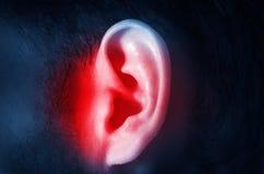 Человеческое мужское ухо на темной изолированной предпосылке стоковые изображения rf