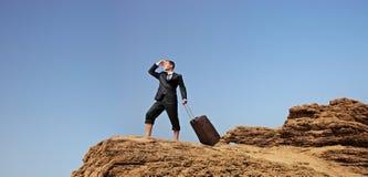 чемодан бизнесмена потерянный Стоковая Фотография RF