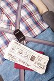 чемодан пасспорта пропуска восхождения на борт Стоковое Фото