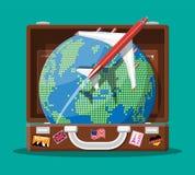 Чемодан, самолет и глобус перемещения бесплатная иллюстрация