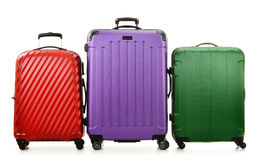 3 чемодана изолированного на белизне Стоковое Изображение