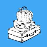 Чемоданы и сумка с биркой багажа Стоковые Изображения RF