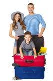 Чемодан перемещения семьи, люди и багаж каникул, сумка ребенка стоковое фото rf