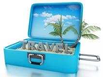 чемодан перемещения 3d Принципиальная схема летних отпусков Стоковые Изображения