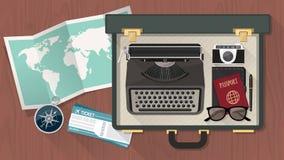 Чемодан репортера с машинкой бесплатная иллюстрация