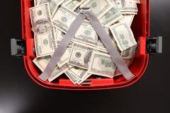 Чемодан с долларами Стоковая Фотография
