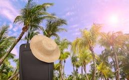 Чемодан ` s путешественника на летних каникулах Стоковое Изображение RF