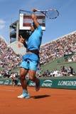 14 чемпионов Рафаэль Nadal грэнд слэм времен в действии во время его третьей спички круга на Roland Garros 2015 Стоковое Изображение RF