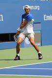 14 чемпионов Рафаэль Nadal грэнд слэм времен практик Испании для США раскрывает 2015 Стоковое Изображение
