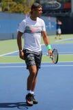14 чемпионов Рафаэль Nadal грэнд слэм времен практик Испании для США раскрывает 2015 Стоковое Фото