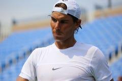 14 чемпионов Рафаэль Nadal грэнд слэм времен практик Испании для США раскрывает 2015 Стоковые Фото