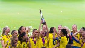 Чемпионы европейца национальной команды футбола Швеции Стоковые Фото
