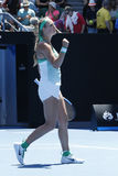 Чемпион Виктория Azarenka грэнд слэм Беларуси празднует победу после круглой спички 4 на открытом чемпионате Австралии по теннису Стоковые Фото